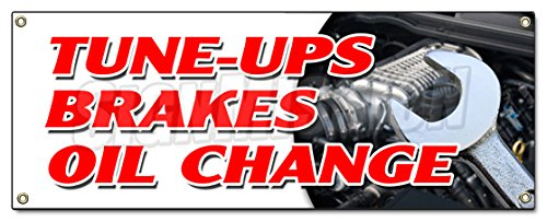 Tune UPS Brakes Oil Change Banner Sign Cars a/c Brake Muffler tire tech