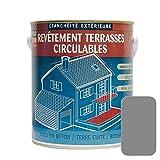Peinture d'étanchéité imperméabilisante pour terrasse circulable, balcon, sols extérieurs, béton, plusieurs coloris PROCOM 2.5 litres Gris