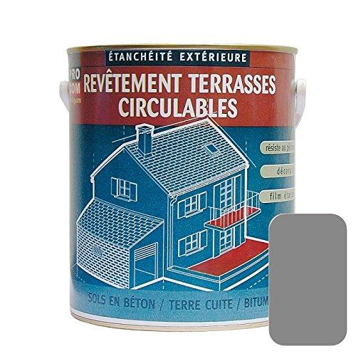 Peinture d'étanchéité imperméabilisante pour terrasse circulable, balcon, sols extérieurs, béton, plusieurs coloris PROCOM 10 litres Gris