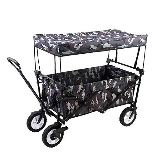 Acyon Bollerwagen faltbar mit Dach Handwagen Transportkarre Gerätewagen | inkl. 2 Netztaschen und Einer Außentasche | klappbar | Vollgummi-Reifen | bis 80 kg Tragkraft,D