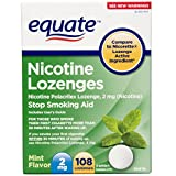 Equate Nicotine Lozenge Stop Smoking Aid, Mint Flavor 2 mg, 108 Lozenges