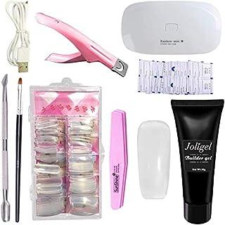 Joligel Polygel Uñas Kit Completo con Lámpara UV LED Gel Constructor Transparente + Moldes Tips Extensión Uñas + 3-Usos C...
