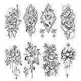 HOWAF 8 Sheets Realistic Flower Tattoos Large Rose Temporary Tattoos Stickers Adults Women Waterproof Blossom Flora Black Tattoo Girls Lady Fake Tatoos Big Arm Tatto Sexy Shoulder Breast Legs