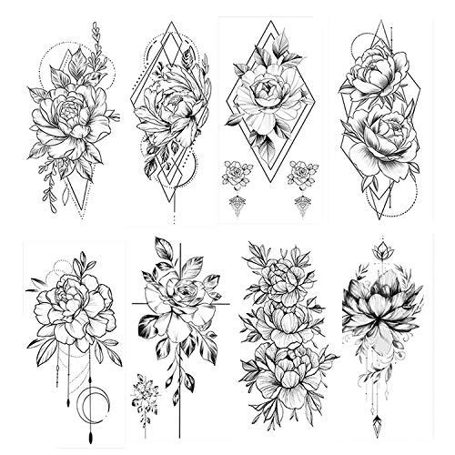 HOWAF 8 Blätter Groß Schwarz Rose Blume Temporäre Tattoos Frauen Körper Arm Beine Päonie Geometrisch Tattoo Aufkleber Gefälscht Wasserdicht Skizzieren Tätowierung Sexy Temporary Tattoos