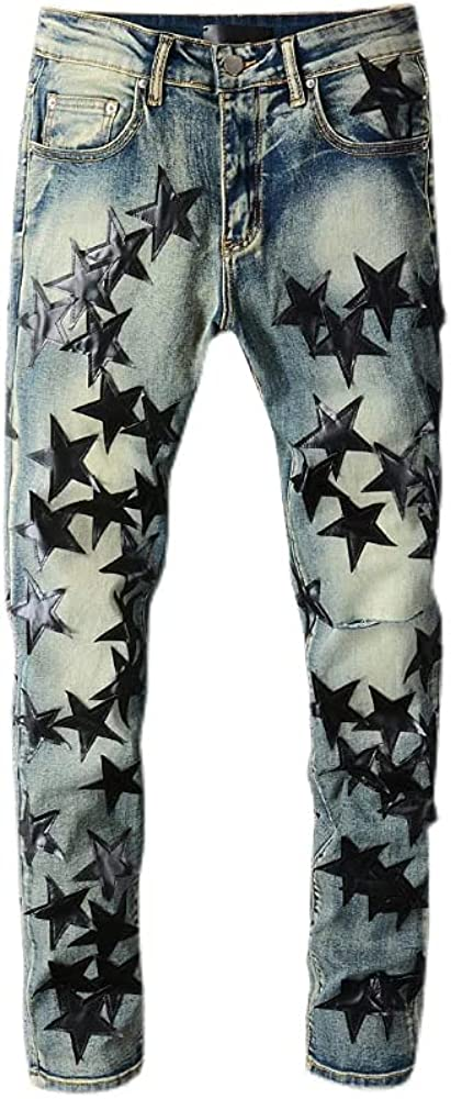 Street Star Leather Five-Pointed Stars Fight Leather Hole wash Jeans Tide Brand (Black and Blue, 32)