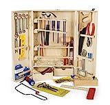 Leomark Deluxe Holz Werkzeug für Kinder - 50-TLG - Werkzeugkasten, Kompakter Werkzeugkoffer, Holzschrank mit Zubehör, Holzkiste mit Metallzubehör
