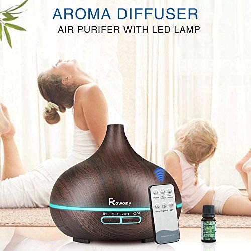Rowony-550ml-Essential-Oil-Diffuser-with-Remote-Control-Ultrasonic-Humidifier-Portable-Aromatherapy-Large-Capacity-Mist-Diffuser-4-Timer-Setting-Waterless-Auto-Off-7-LED-Lights-For-Yoga-Office-Spa-Hom