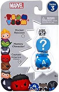 Marvel Tsum Tsum Series 3 Captain America, Rocket Raccoon & Mystery Figure Minifigure 3-Pack