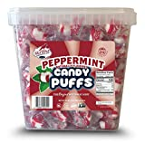 Red Bird Soft Peppermint Candy Puffs 52 oz Tub w/Handle; Mints are Individually Wrapped, Gluten Free, Kosher, Free from Top 8 Allergens, Made with 100% Pure Cane Sugar