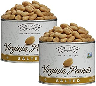 FERIDIES Salted Super Extra Large Virginia Peanuts - 2 Pack 18oz Cans, NonGMO, OU Kosher