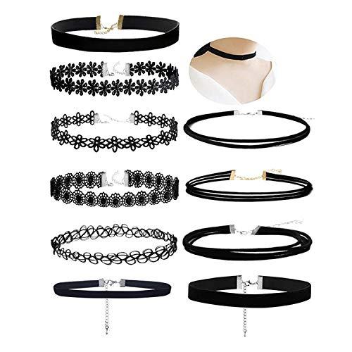 Aibada 10 collar negro femenino collar negro clásico terciopelo estiramiento gótico tatuaje encaje collar mujer niña vestido de fiesta decoración