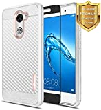 NageBee for Huawei Ascend XT 2 Case with [Full Cover Tempered Glass Screen Protector] [Frost Clear] [Carbon Fiber] Slim Soft Cover Case for Huawei Ascend XT2 H1711 / Huawei Elate 4G LTE -Rose Gold