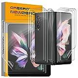 NEWZEROL 3 Sätze Kompatibel für Samsung Galaxy Z Fold 3 5G Bildschirmschutz Einschließlich äußerer Bildschirmschutz + Innerer Bildschirmschutz + Rückseitenfolie + Scharnierfolie 3D TPU Kratzfester Schutzfolie