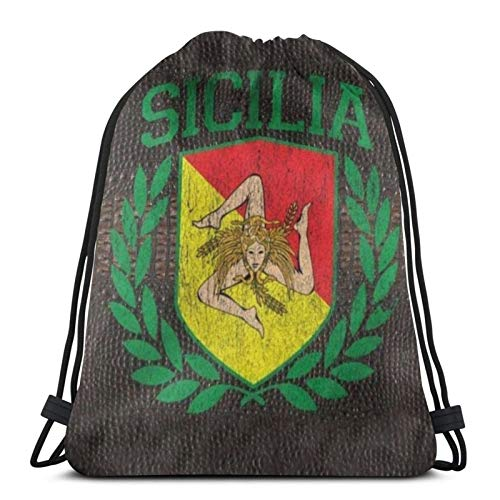 fenrris65 Drawstring Bag Sicilian Coat Of Arms String Backpack Terylene for Men Women