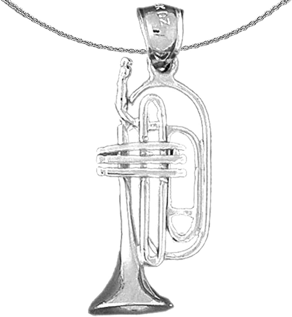 Jewels Obsession Max 45% OFF Silver Fees free 3D Necklace Trumpet 925 Rhodium-plated