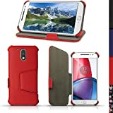 iGadgitz U5348 Funda Compatible con teléfono móvil Folio Rojo -(Folio, Motorola, Moto G 4th Generation XT1622 (Moto G4) & Moto G4 Plus XT1644, Rojo)