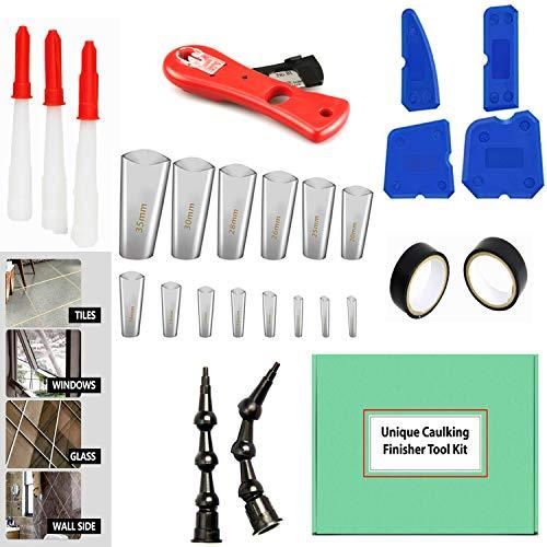 Caulking Tool Kit Finishing Set- Ultimate Silicone Caulking Tool Sealant for Kitchen, Bathroom, Windows-Premium Quality Caulking Nozzle Applicator Finishing Tool in Different Sizes: from 5 mm to 35 mm