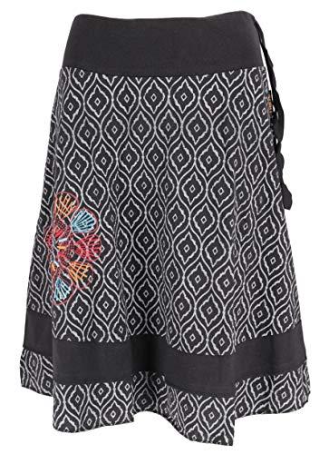 Guru-Shop Knielanger, Schwingender Rock, Damen, Schwarz/grau, Baumwolle, Size:40, Röcke/Kurz Alternative Bekleidung