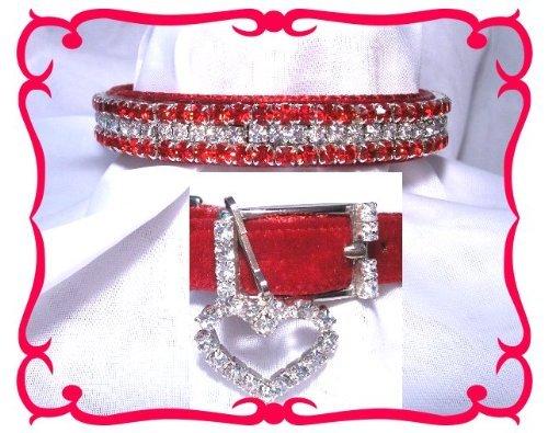 Couture Rhinestone Dog and Cat Collars Collar de Terciopelo Rojo y Diamantes de imitación para Mascotas, Perro o Gato, tamaño pequeño 304