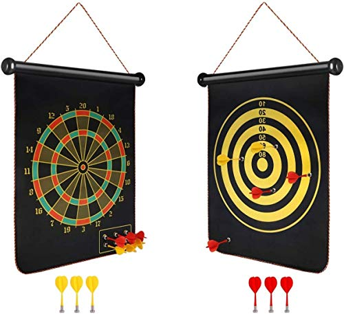 LUZZO 12 Inches Double-Sided Magnetic Dart Board Game with 4 Magnetic Darts | Indoor Outdoor Games for Adults, Kids