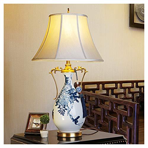 NQN Lámpara de Mesa con protección para los Ojos, cómoda lámpara de Lectura en la Cama, Color Azul Chino y Blanco, lámpara de Mesa de Porcelana Pintada a Mano