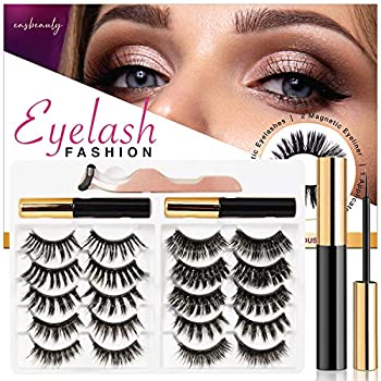 Updated 3D 6D Magnetic Eyelashes with Eyeliner Kit- 2 Tubes of Magnetic Eyeliner- 10 Pairs Magnetic Eyelashes Kit-With Natural Look & Reusable False lashes -No Glue Needed