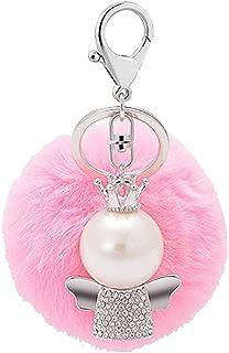 LITTLE TREE-AU Rhinestone Crystal Angel Fluffy Ball Key Ring Keychain Bag Handbag Ring Car Key Pendant Pink
