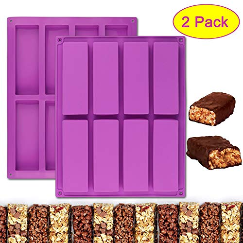 Palksky 2 Stück große rechteckige Silikonform mit 8 Mulden, für Nährstoff/Müsliriegel, für Schokolade, Trüffel, Ganache, Brotbrot, Muffin, Brownie, Cornbrot, Käsekuchen, Pudding