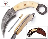 Damascus Karambit Knife Handmade Hunting Knife Double Edge Karambit Damascus Steel Knife Tactical Knife Bone Handle with Sheath