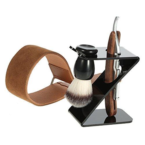 Anself 4 in 1 Rasiermesser Set mit Rasierpinsel + Bürstenständer + Leder Streichriemen