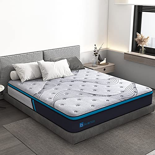 Queen Mattress, Avenco Queen Size Mattress Firm, 10 Inch Hybrid Queen Mattress in a Box, Pocketed Innerspring and Gel Memory Foam, Grey, Excellent Support, Edge Support, CertiPUR-US & ISPA