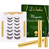 Delelashes 3D Magnetic Eyeliner with Eyelashes Kit,Upgraded Magnetic Fake Lashes with Different Lengths and Densities, Natural and Reusable Eyelashes,No Glue Needed (7 Pairs)