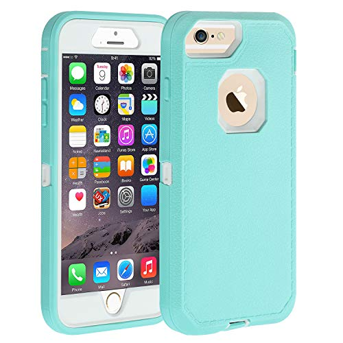 Co-Goldguard iPhone 6s Plus/6 Plus Case,Heavy Duty Armor 3 in 1 Rugged Cover with Screen Bumper Dust-Proof Shockproof Drop-Proof Scratch-Resistant Shell for iPhone 6+/6s+ 5.5' Light Blue/White
