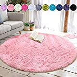 junovo Round Fluffy Soft Area Rugs for Kids Girls Room Princess Castle Plush Shaggy Carpet Cute Circle Nursery Rug for Kids Baby Girls Bedroom Living Room Home Decor Small Circular Carpet, 4ft Pink