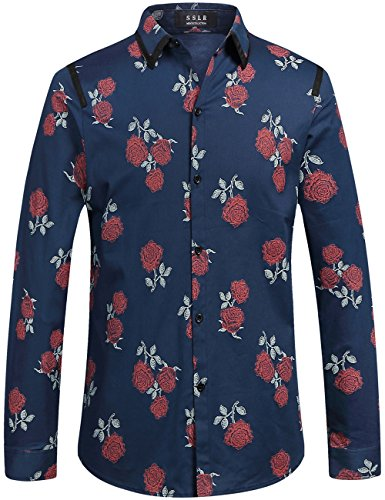SSLR Herren Hemd Langarm Baumwolle Rosen Druck Retro Freizeithemd Langarmhemd Button Down Shirt (Large, Blau)