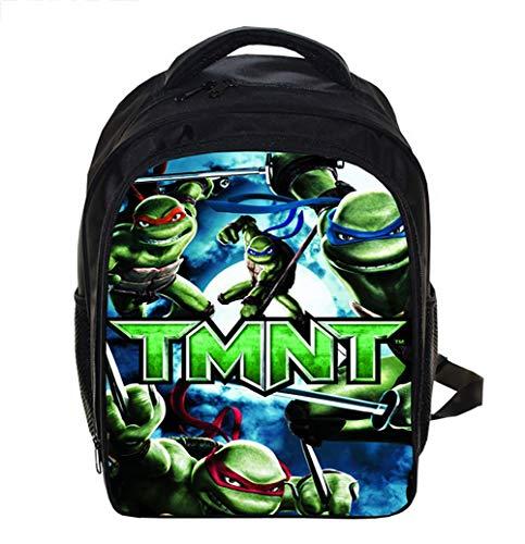 Canvas Backpack for School Lightweight Teenage Mutant Ninja Turtles Bookbag for Children Elementary School Bags for Boys 12.99 * 5.7 * 9.44inch,A