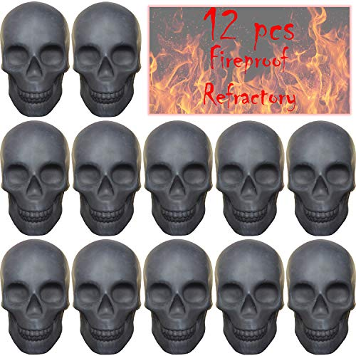 12PCS Skull Charcoal (Fireproof)(Refractory) Imitated Human Skull Gas Log for Indoor or Outdoor Fireplaces, Fire Pits Halloween Decor (12) (12 pcs)