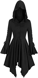 Women Hoodie Dresses Long Sleeves Tops Elegant Solid Color Hoodies Dress Retro Gothic Swing Dress Medieval Chic Costume Vi...