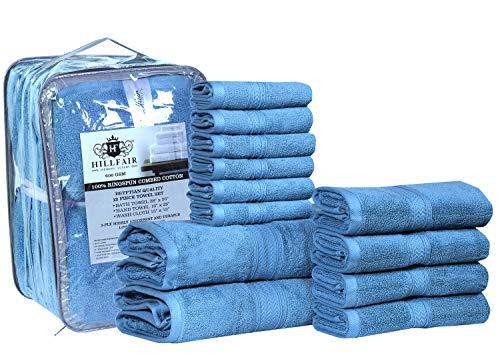 HILLFAIR 12 Piece- 600 GSM Cotton Bath Towels Set - Hotel Spa Towels Set- 2 Bath Towels, 4 Hand Towels, 6 Washcloths- Absorbent Super Soft Cotton...