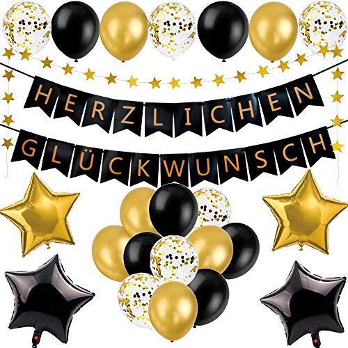 LumeeStar Herzlichen Glückwunsch Deko Set Jubiläum Abitur Konfirmation Geburtstag- Schwarz Gold - Girlande Konfetti Luftballons Herzen Sterne