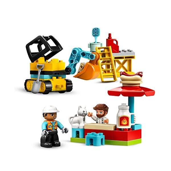 LEGO10933DuploTownGrúaTorreyObraJuguetedeConstrucciónparaNiñosyNiñas+2añoscon5MiniFiguras