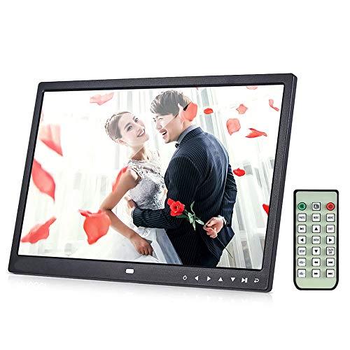 WanZhuanK Digitaler Bilderrahmen 17 Zoll (16: 9) IPS-Breitbild-Display, HD-IPS-Bilderrahmen-Display, Unterstützt 1080P-Video, Stereo, MP3, Fernbedienung,Schwarz