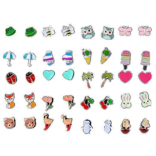 20 Paia Orecchini Bambina,Orecchini a Forma di Simpatici Frutta e Animali,Orecchini ipoallergenici per Ragazze da Donna Candy Flower Cake Animali Cuore Gelato Colorato Simpatici Orecchini