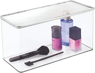 mDesign Makeup Plastic Holder Case Storage Organizer Box for Bathroom Vanity, Countertops, Drawers - Holds Eyeshadow Palettes, Lipstick, Lip Gloss, Makeup Brushes - Hinged Lid, 13.4