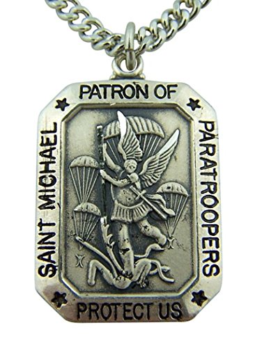 "Sterling Silver St. Michael Patron Saint Paratroopers Medal 1 1/8"" H 24"" L Chain Gift Boxed"