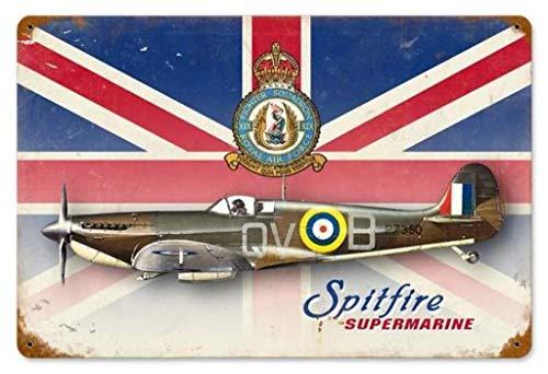 Topoose Spitfire Union Jack Metall Blechschild Wanddeko Schild 30,5 x 20,3 cm Metall Vintage Schild