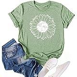 Women's Sunflower Summer T Shirt Plus Size Loose Blouse Tops Girl Short Sleeve Graphic Casual Tees (Light Green, Medium)