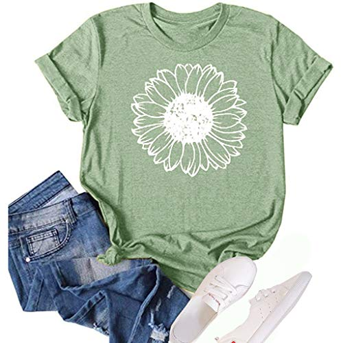Women's Sunflower Summer T Shirt Plus Size Loose Blouse Tops Girl Short Sleeve Graphic Casual Tees (Light Green, X-Large)