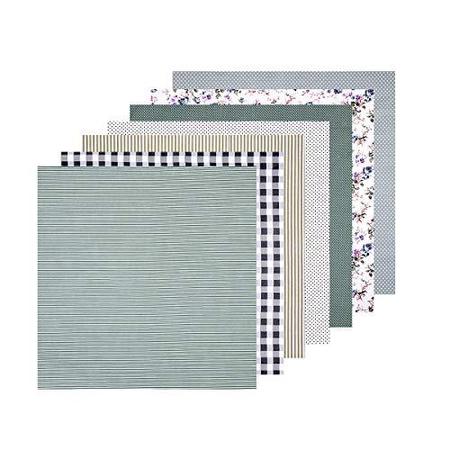 Healifty 7 quadratische Stoffe, Blumenmuster, Baumwolle, für Patchwork, DIY, Nähen, Scrapbooking, Quilten, 50 x 50 cm (grau)