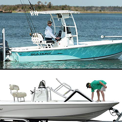 Photo of woman on boat and man collapsing a Fishmaster Pro Series T-Top